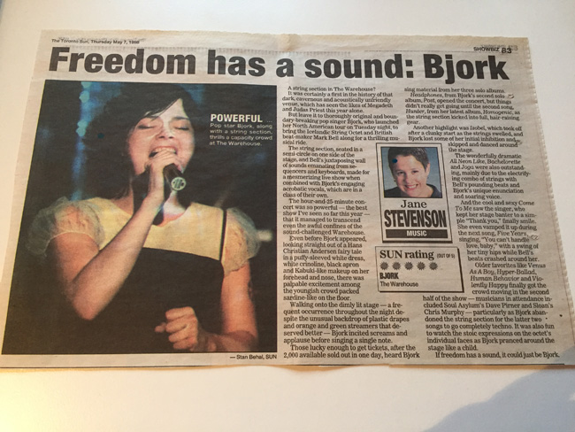 Bjork Toronto Star Review circa 1998, Jane Stevenson's 5 Sun review